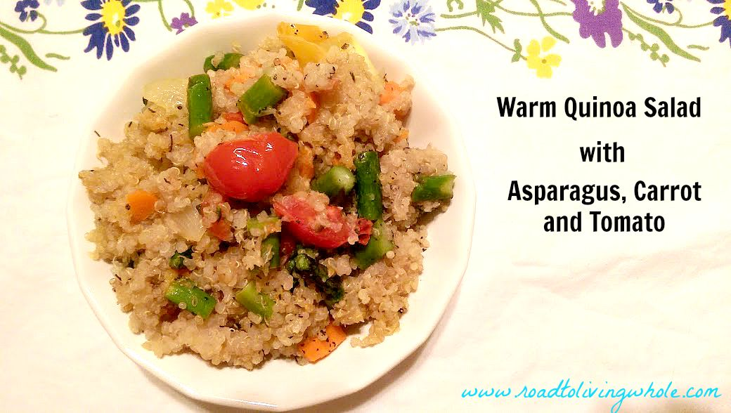 warm quinoa salad with asparagus carrot and tomatoes