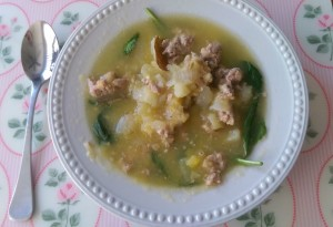 Paleo and Gluten Free Acorn Squash Potato and Sausage Soup