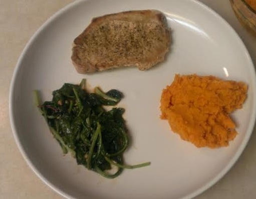 Pan Fried Pork Chops with Sweet Potato Mash and Greens