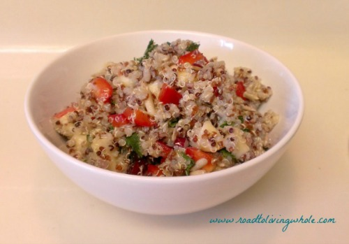 cold quinoa salad with apples, cranberries and mint 2