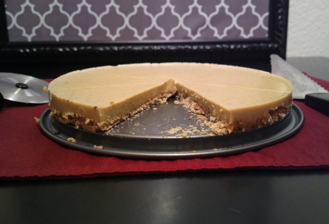 gluten free pumpkin cheesecake sliced