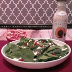 pomegranate spinach almond salad with poppyseed dressing
