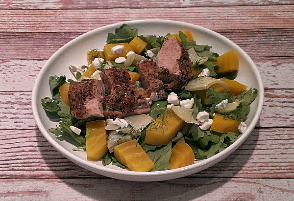 Roasted Fennel and Beet Salad with tenderloin