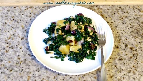 gluten free massaged kale salad with oranges