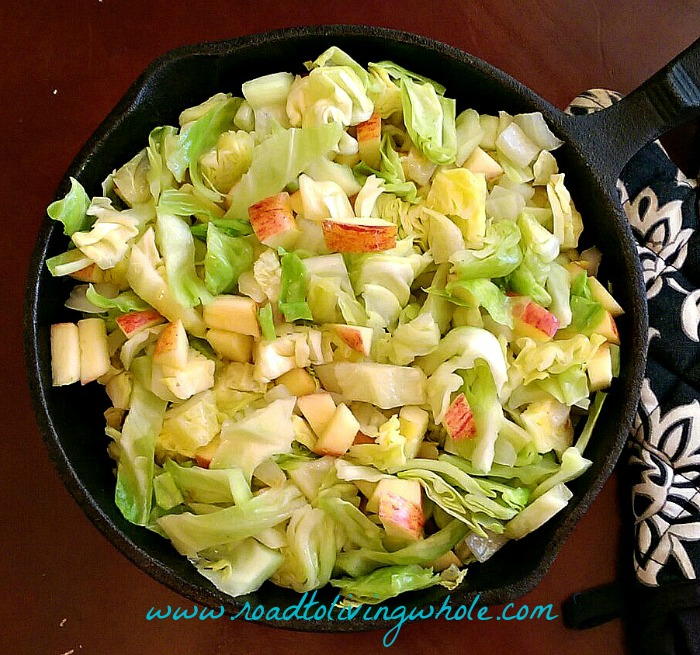 cabbage apple and onion saute above 2