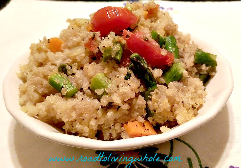 vegan warm quinoa salad