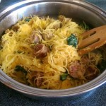 Paleo Spaghetti Squash with sausage and baby kale