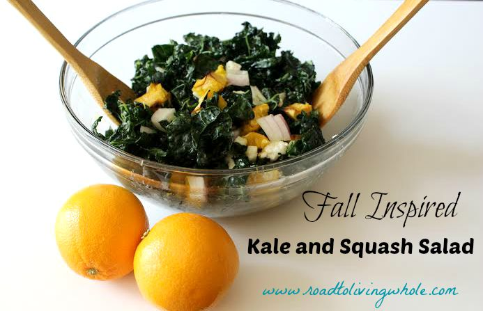 fall inspired kale and squash salad