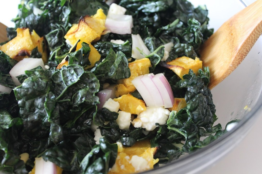 kale and acorn squash salad