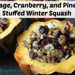 Sausage Cranberry Pine Nut Stuffed Acorn Squash