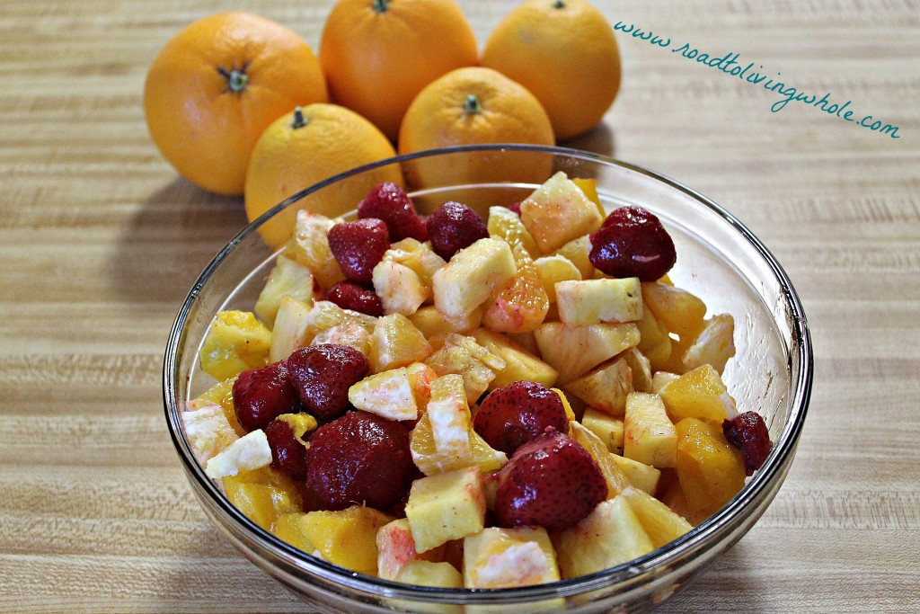tropical citrus fruit salad with a honey cardamom dressing