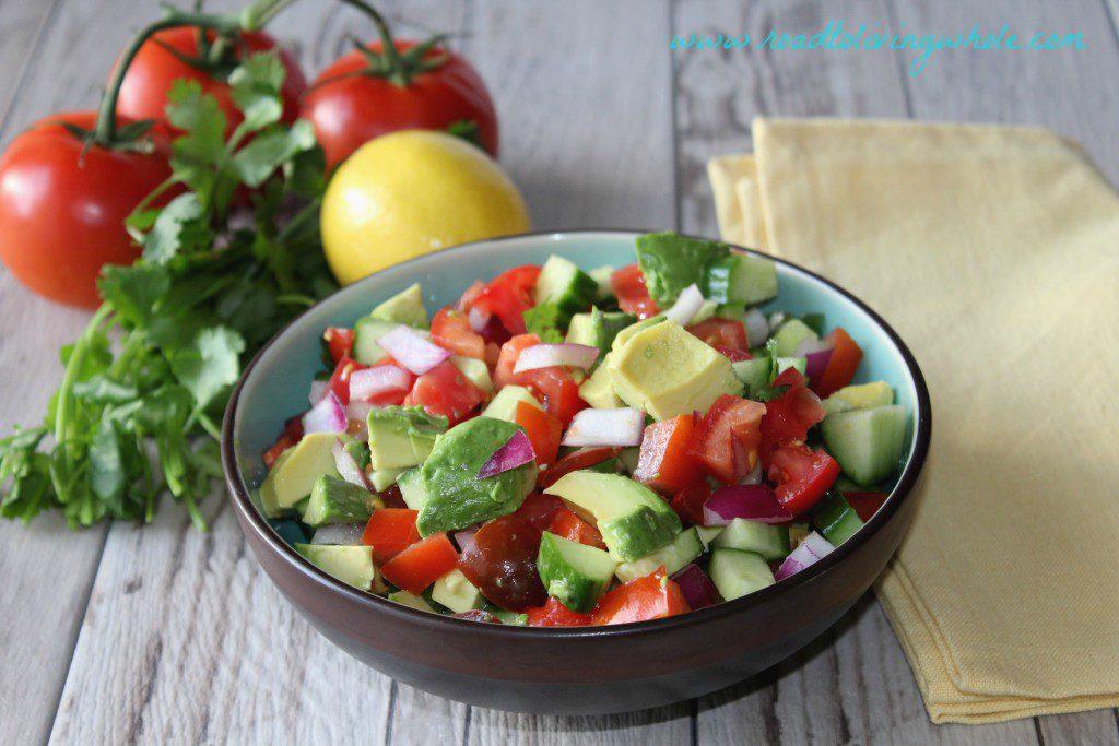 cucumber tomato avocado salad 2